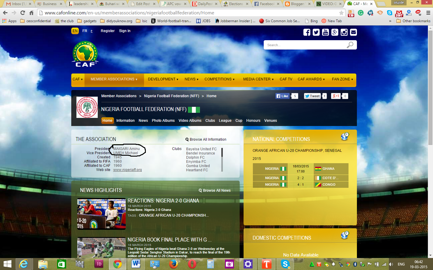 CAF Website Says NFF President is Aminu Maigari