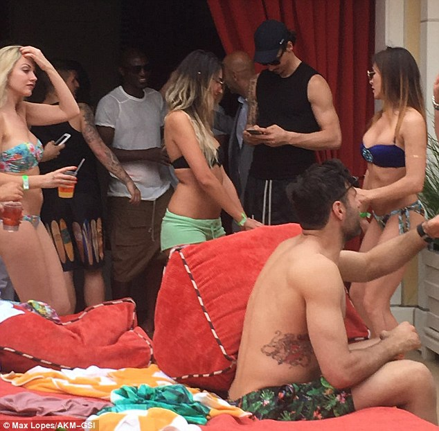 PSG stars Zlatan Ibrahimovic, Marco Verratti and Javier Pastore celebrate French League Cup with bikini-clad women in Las Vegas.,