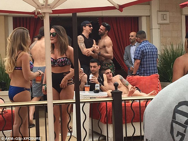 PSG stars Zlatan Ibrahimovic, Marco Verratti and Javier Pastore celebrate French League Cup with bikini-clad women in Las Vegas.